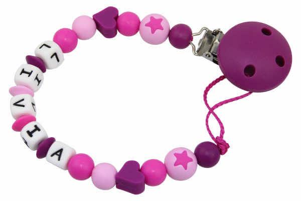 Nuggikette Silikon mit Name Herzchen dunkelviolett:rosa