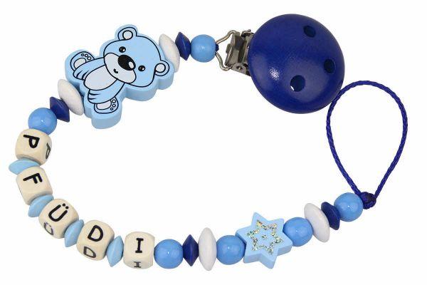 Nuggikette mit Name Teddybär pastellblau