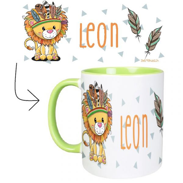 Tasse mit Name Löwe