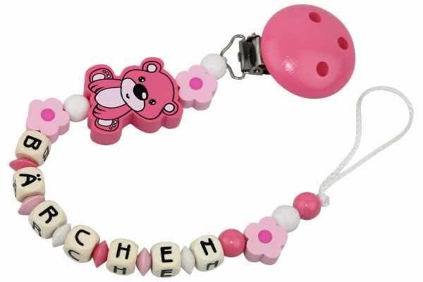 Nuggikette mit Name Bärchen und Blume rosa