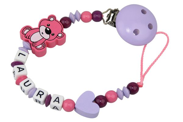 Nuggikette mit Name Teddybär rosa:flieder