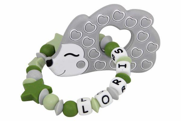 Beissgreifling mit Name Igel grau:grün