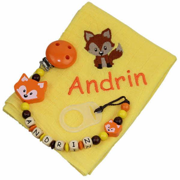 Nuscheliset mit Name Fuchs gelb:orange