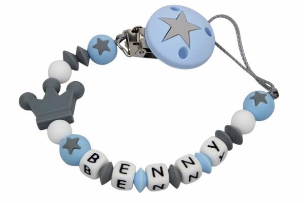 Nuggikette Silikon Sterne eisblau:grau