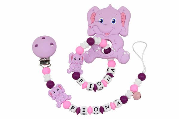 SILIKON Geschenkset Elefant flieder:pink