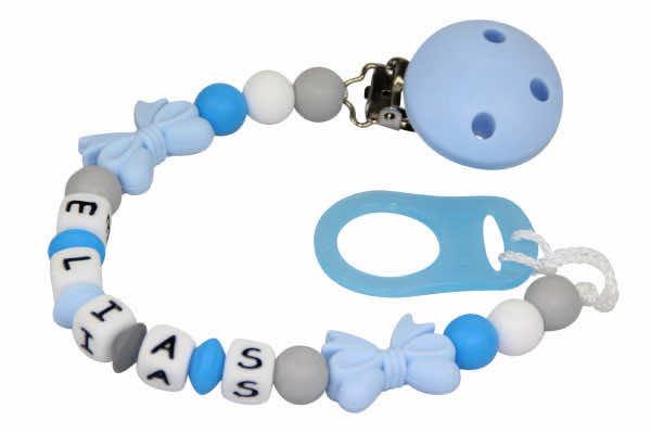 Nuggikette Silikon Schleifchen pastellblau:grau