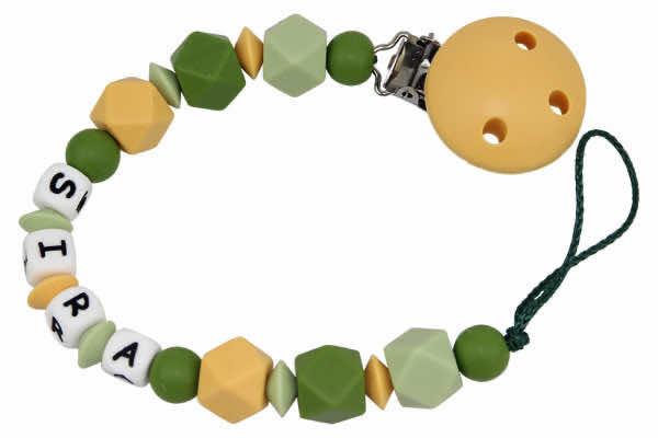 Nuggikette Silikon mit Name Hexagon senf:grün