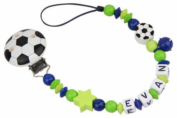 Nuggikette mit Name Fussball blau:grün
