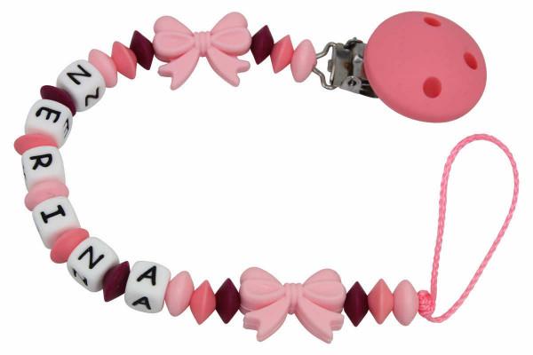 Nuggikette Silikon mit Name Schleifchen rosa:pinktöne