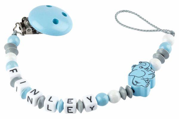 Nuggikette mit Name Elefant blau:grau