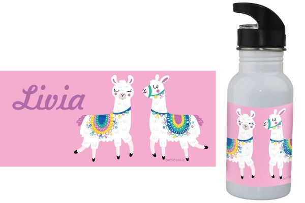 Trinkflasche mit Name Lama pink
