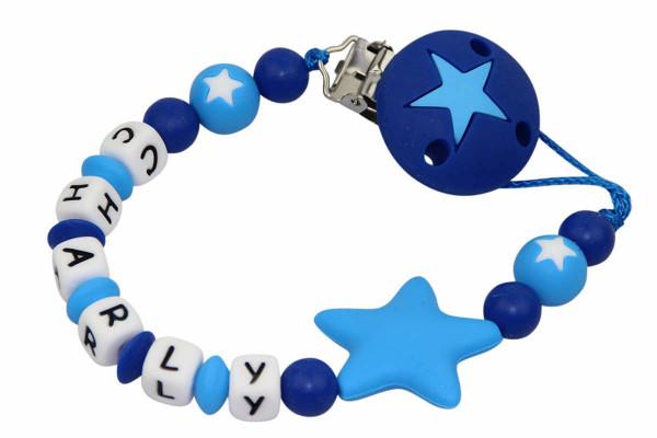 Nuggikette Silikon Sterne dunkelblau:hellblau