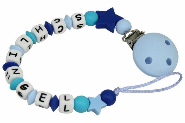 Nuggikette Silikon mit Name Sterne scubablau:pastellblau