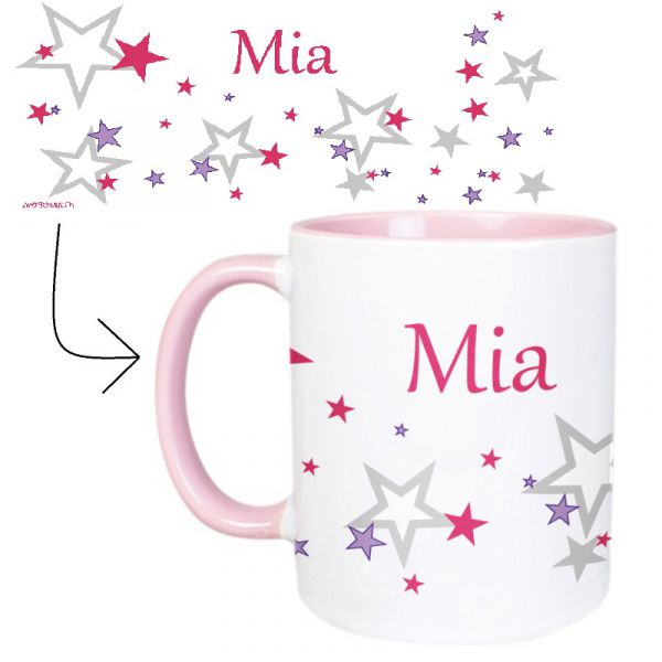 Tasse mit Name Sternchen rosa
