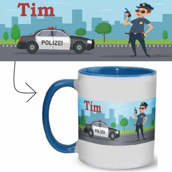 Tasse mit Name Polizei