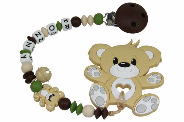 Nuggikette Silikon mit Name und Anhänger Teddy Boy