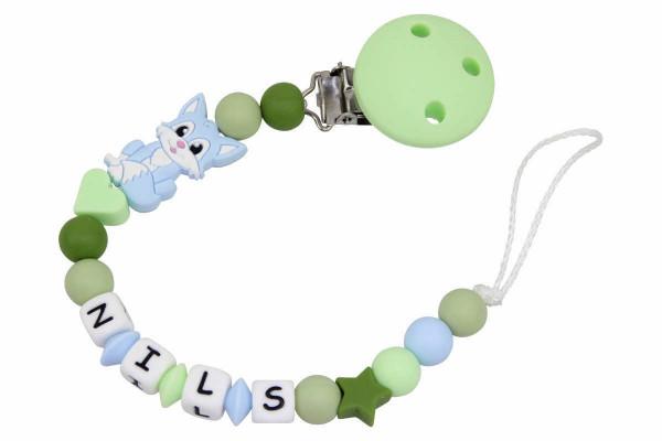 Nuggikette Silikon mit Name Fuchs pastellblau:hellgrün