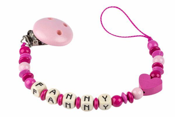 Nuggikette mit Name pink:dunkelpink mit Herz