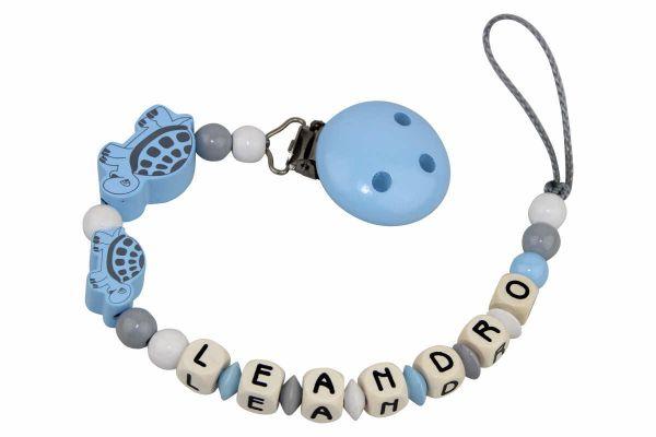 Nuggikette mit Name Schildkröten pastellblau:grau