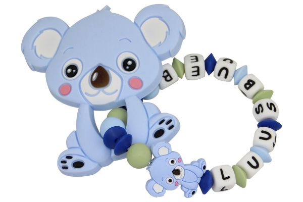 Beissgreifling mit Name Koala pastellblau:lindengrün