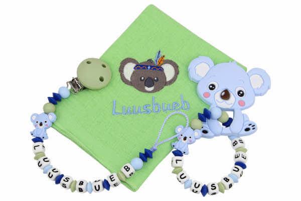 Geschenkset SILIKON mit Name Koala pastellblau:lindengrün