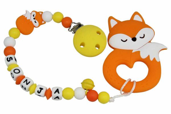 Nuggikette Silikon mit Name Fuchs gelb:orange