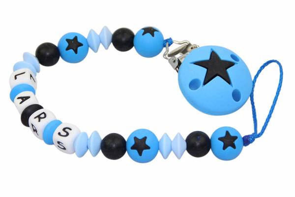 Nuggikette Silikon mit Name Sterne blau:schwarz