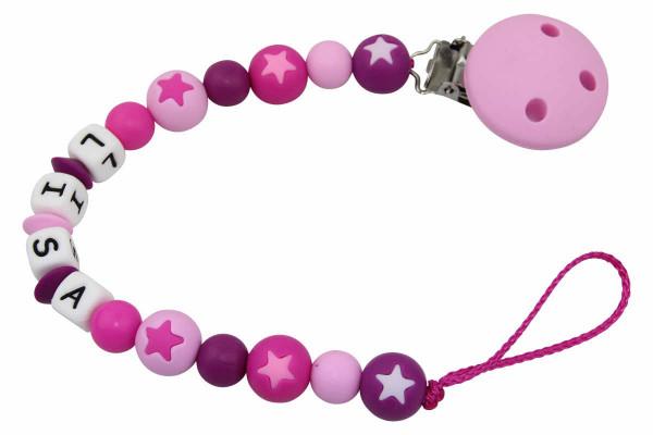 Nuggikette Silikon mit Name Sternperlen pastellrosa:pink