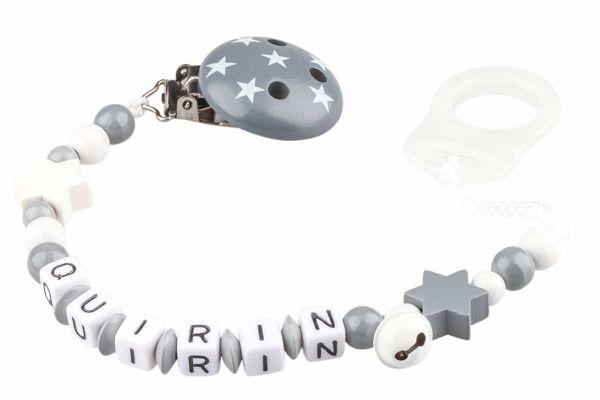 Nuggikette mit Name Sternchenduo weiss:grau