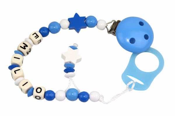 Nuggikette mit Name Sternchen blau:weiss