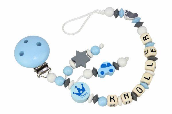 Nuggikette mit Name Prinz blau:grau