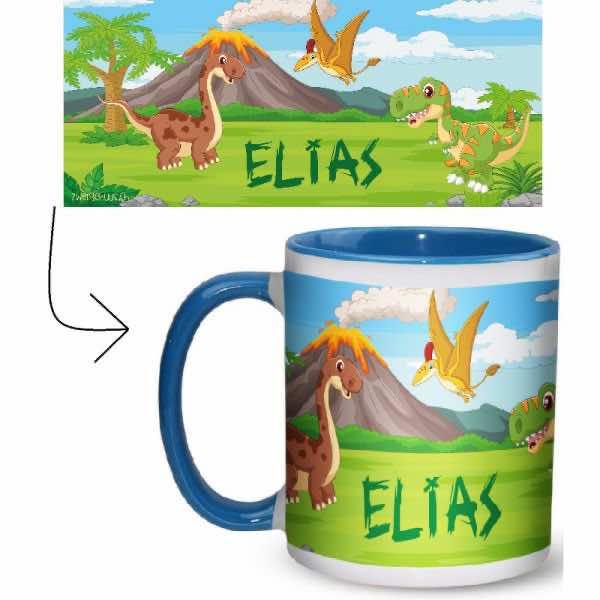 Tasse mit Name Dinosaurier