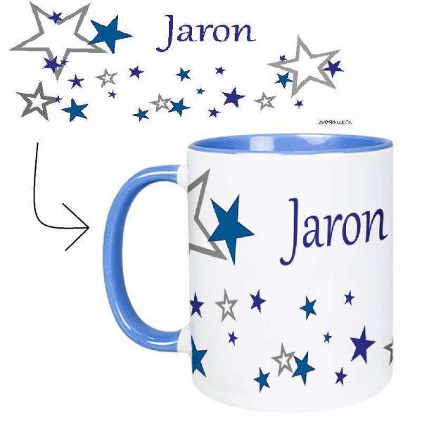 Tasse mit Name Sternchen blau