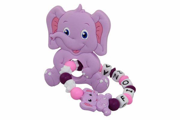 Beissgreifling mit Name Elefant flieder:pink
