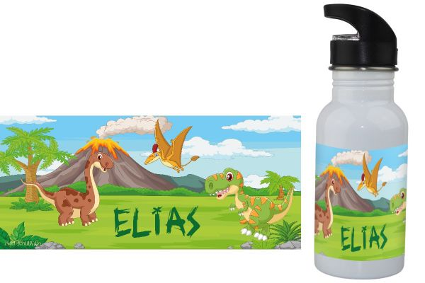 Trinkflasche mit Name Dinosaurier