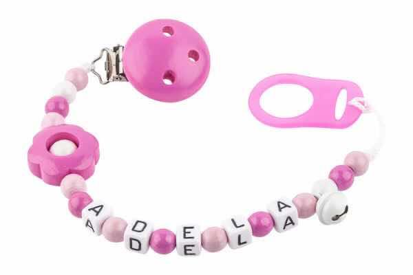 Nuggikette mit Name Lochblume pink:weiss
