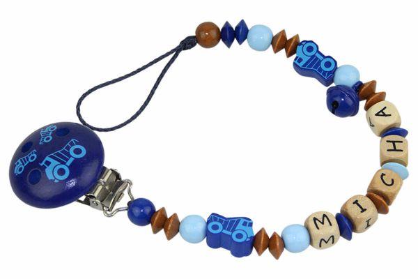 Nuggikette mit Name Laster blau:braun